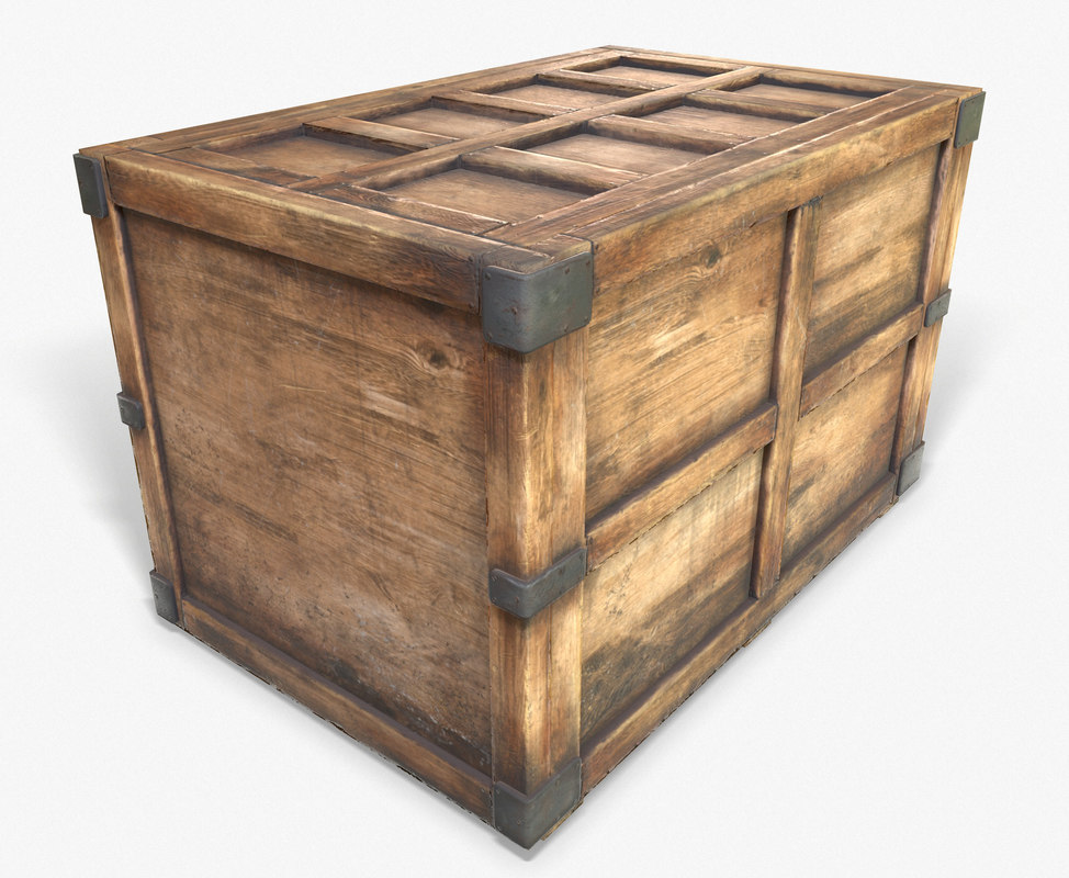 3d model ready wooden crate pbr
