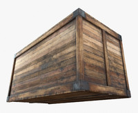 3d ready retro wooden crate