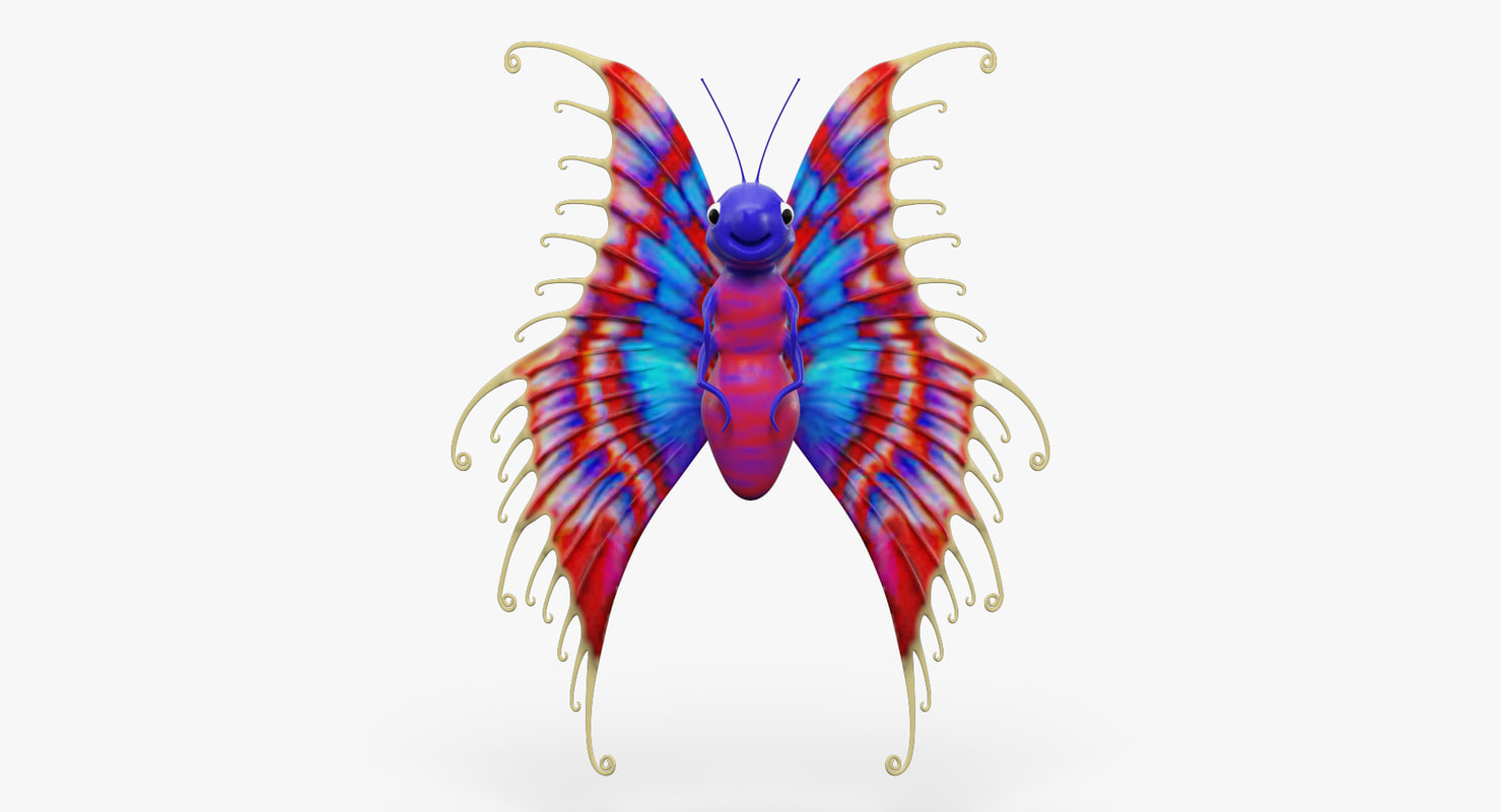 3d model cartoon butterfly