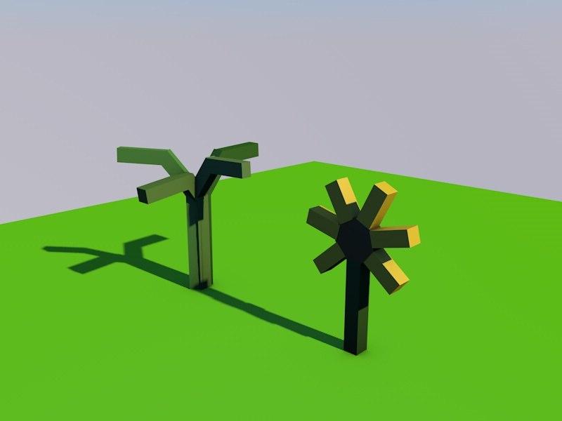 3d sunflower grass model
