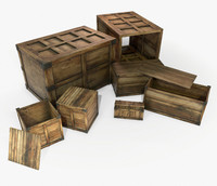 3d model ready retro wooden crate