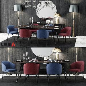 lema bea table chair 3d model