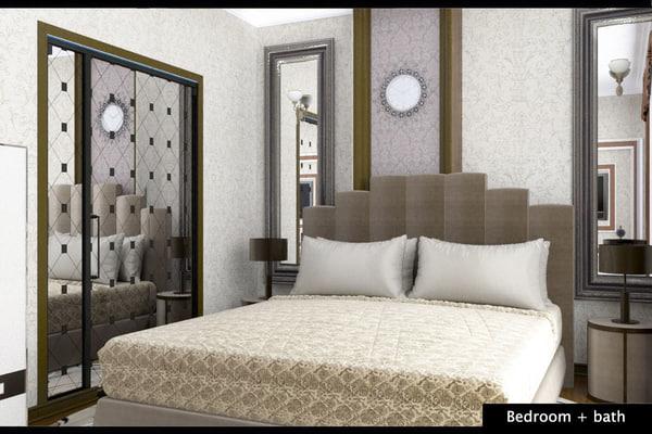 bedroom bathroom 3d model