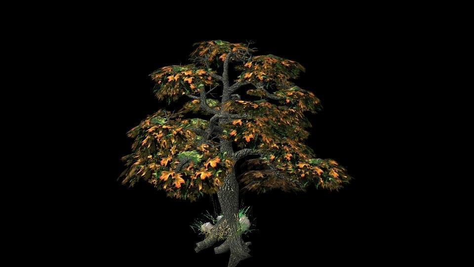 obj tall white oak tree