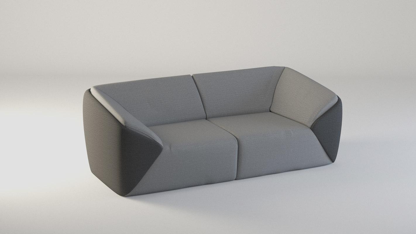 3d boneli slice corner sofa model