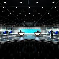 virtual tv news set 3d dxf