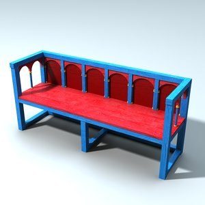 3d medieval norman bench