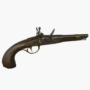 flintlock pistol 3d obj