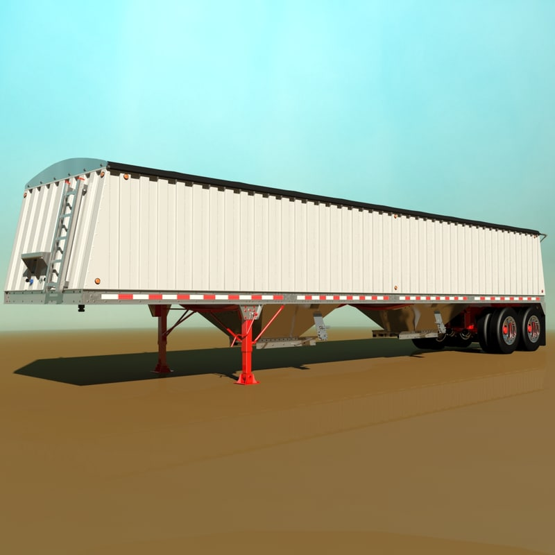 3d grain semi trailer model