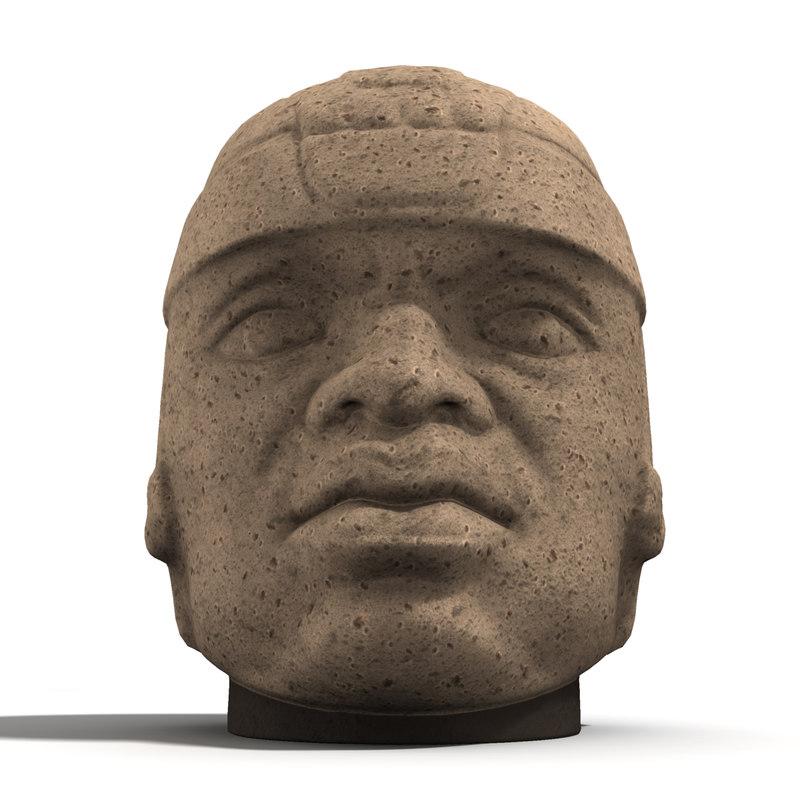 obj olmec stone head