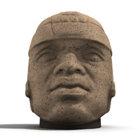 3d model olmec stone head