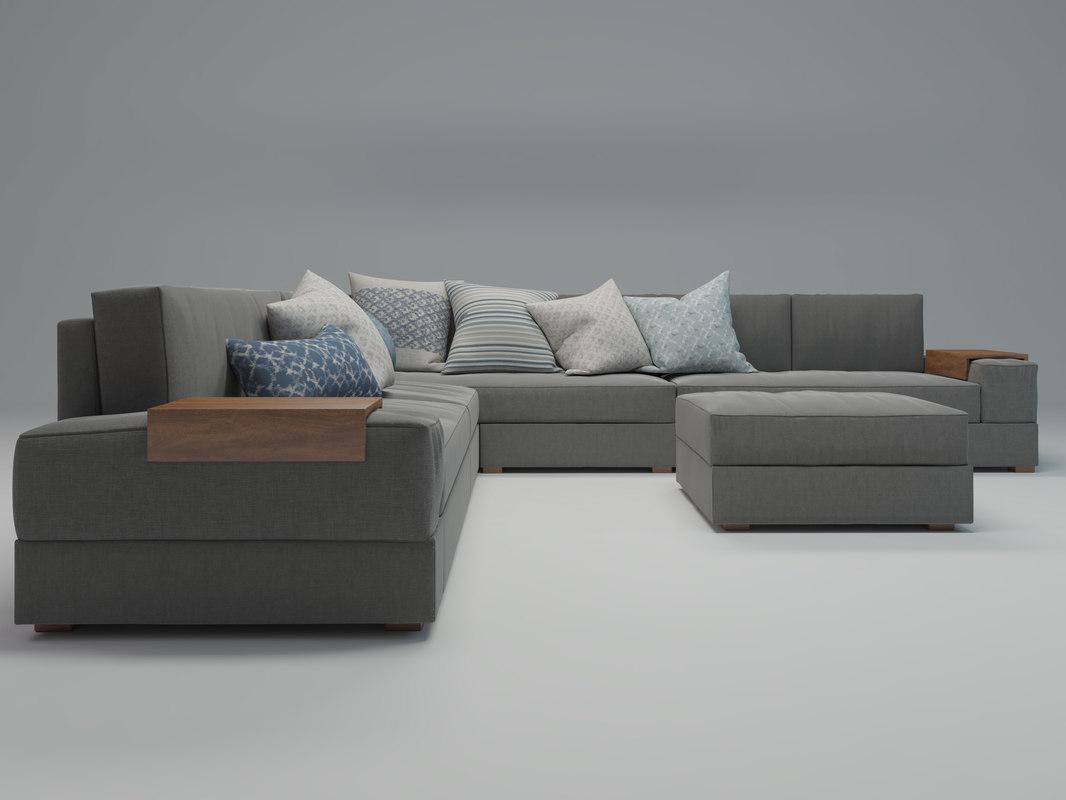 3d model minimalist corner sofa