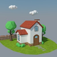 cartoon house 5 3d model