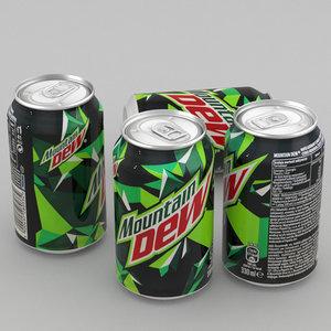 3d beverage mountain dew 330ml model