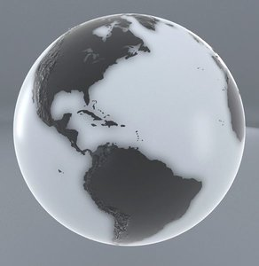 3d black white earth model