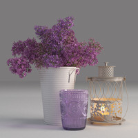 3d decorative set lilac model
