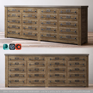 zinc-top mercantile sideboard 3d model