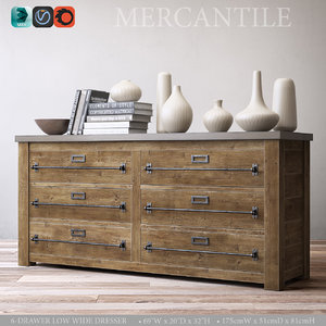 3d mercantile 6-drawer wide dresser model