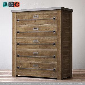 3d mercantile 5-drawer narrow dresser