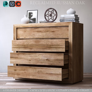 3d 3ds reclaimed russian oak 4-drawer