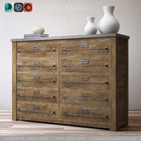 3d model mercantile 10-drawer large chest