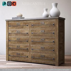3d model mercantile 10-drawer large chest