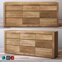 3d model reclaimed russian oak 9-drawer