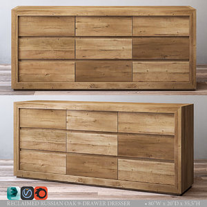 3d model reclaimed russian oak 9-drawer