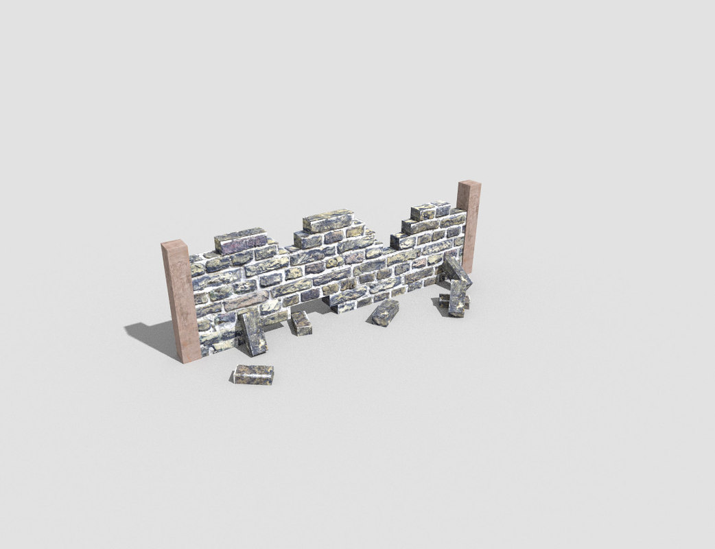 destroyed wall 3d model