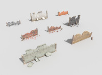 8 low poly damaged walls pack