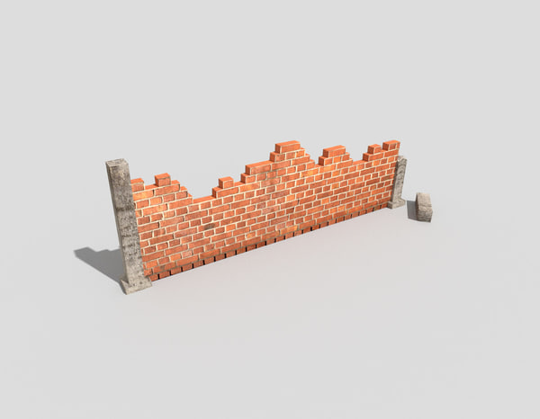 3d damaged wall model