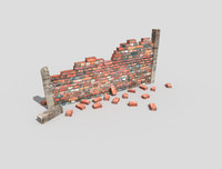 low poly damaged wall