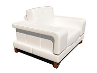 3d bianca leather chair half model