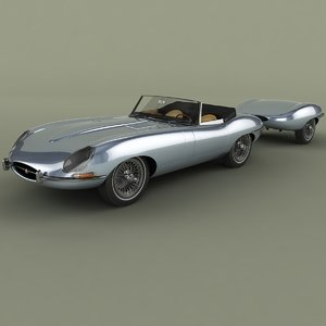 3d model 1962 e-type roadster trailer