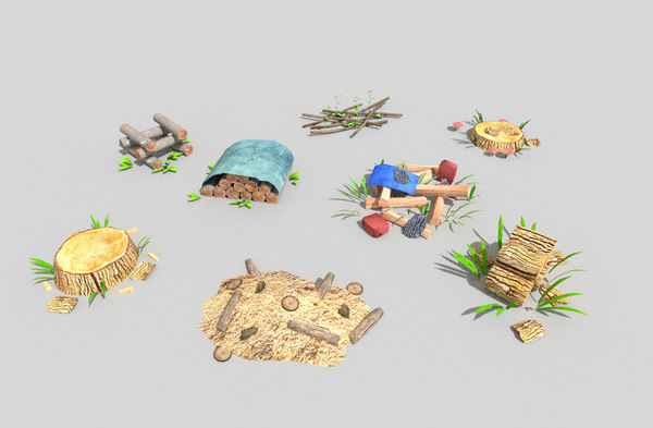 3d pack 8 forest decorations model