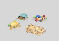 pack 4 decorations 3d model
