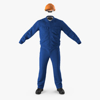 3d boiler suit coverall safety helmet model