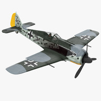 German WWII Fighter Aircraft FW 190 Rigged 3D Model