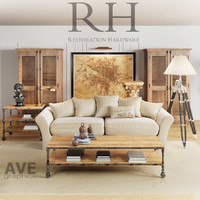 ave restoration hardware living room 3d obj