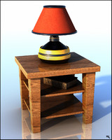 3d model table lamp book