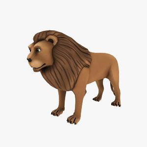 lion cartoon 3d obj