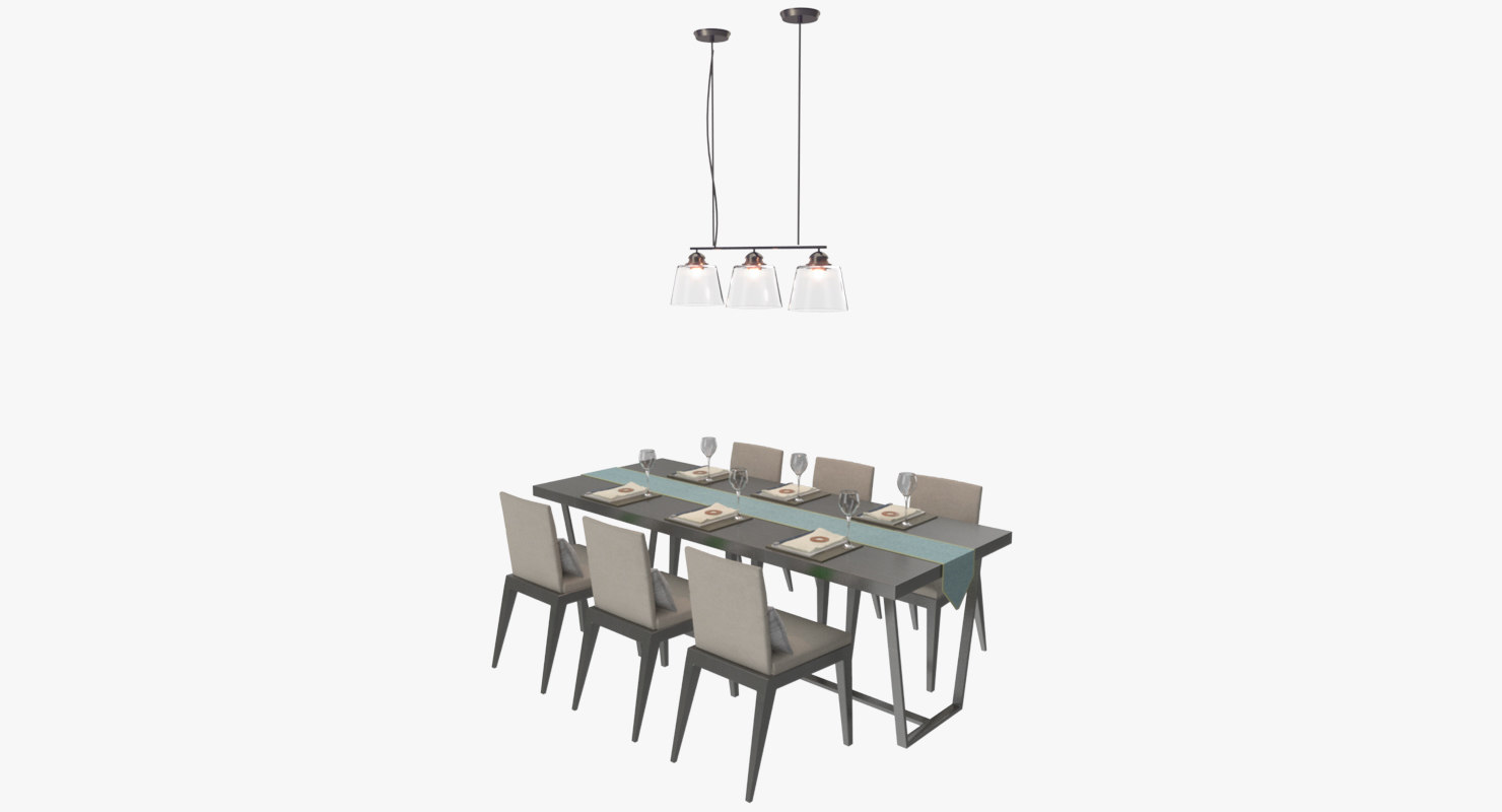 3d dining table chairs