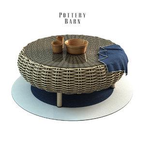 3d santa ana woven coffee table model