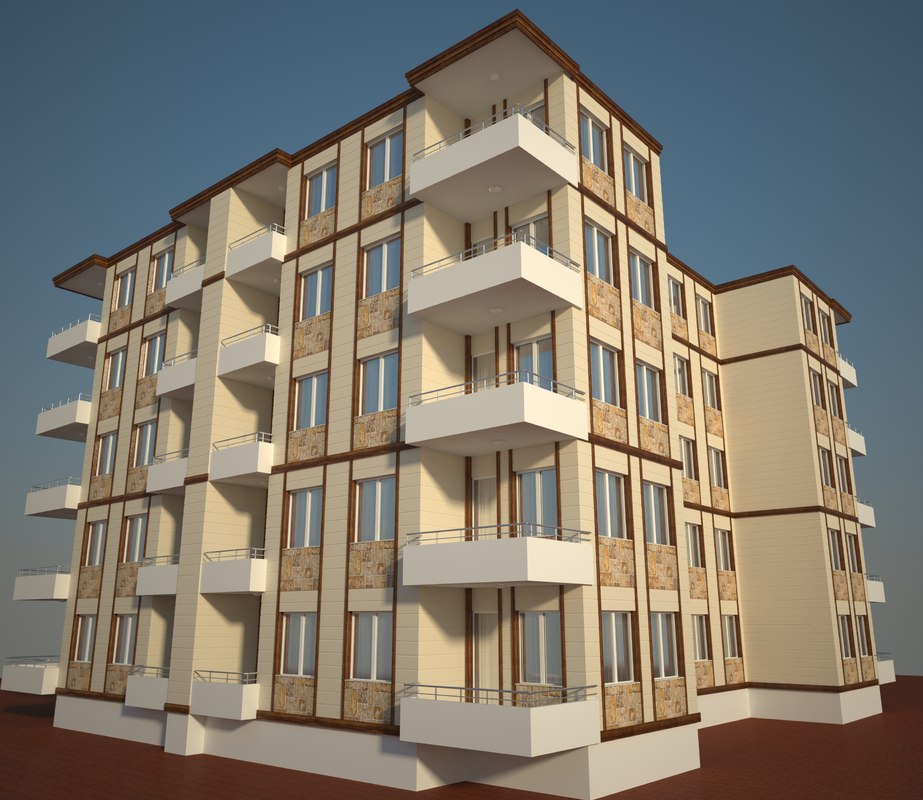 3d model building simply apartment