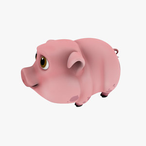 3d model cartoon pig toon