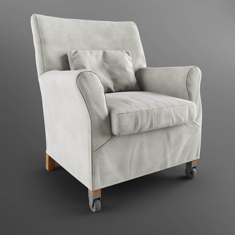 press armchair flexform 3d model