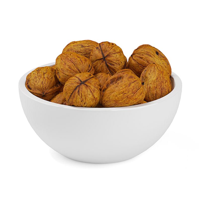 3d walnuts bowl model