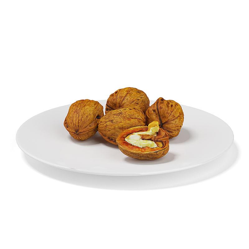 half walnuts white plate c4d