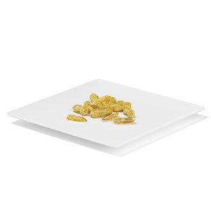 peanuts white plate 3d model