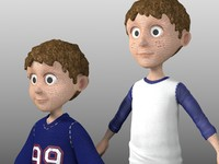 3d model of set 2 cartoon boy